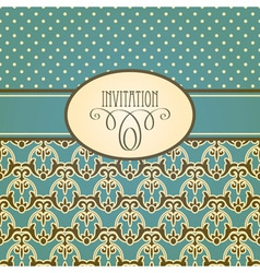 invitation card with seamless floral wallpaper vector image vector image