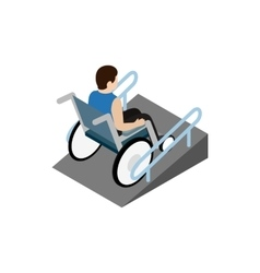 Man sitting on wheelchair on the ramp icon vector image