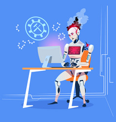 Modern robot working with computer fixing errors vector