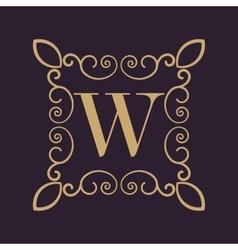 Monogram letter W Calligraphic ornament Gold vector image vector image