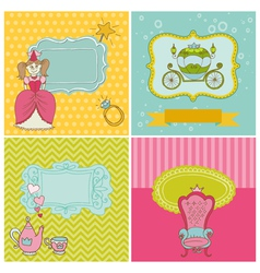 Princess Girl Card Set vector image vector image