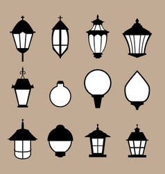 set of modern lamp in flat style isolated vector image vector image