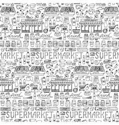 Supermarket hand drawn seamless pattern vector