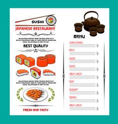 sushi menu template of japanese cuisine restaurant vector image