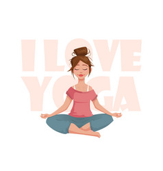 the girl in the lotus pose meditates vector image vector image