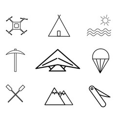 adventure and sport icon set vector image