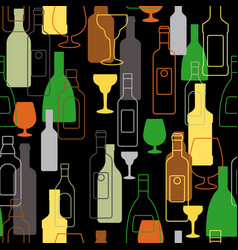 bar colorful pattern with alcohol bottles vector image vector image