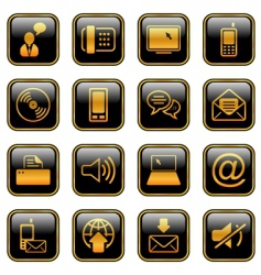 communication icon set golden series vector image