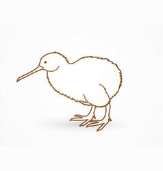 Kiwi bird cartoon outline stroke graphic vector