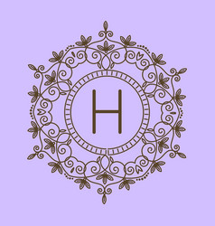 monogram h logo and text badge emblem line art vector image