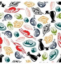 Oriental cuisine dishes and sake seamless pattern vector image