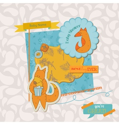 Baby Shower Set with Cute Foxes vector image