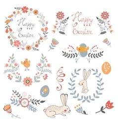 Beautiful collection of Easter related graphic vector image vector image