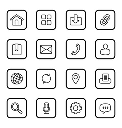 black line web icon set rounded rectangle vector image