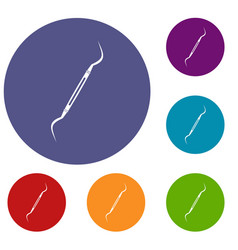 dental instrument probe icons set vector image vector image