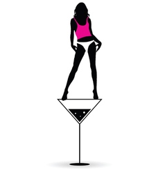 girl stand on martini silhouette vector image vector image