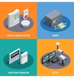 Home Security Isometric 4 Icons Square vector image