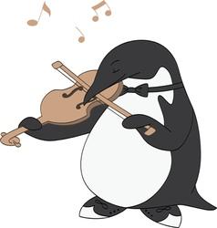 Penguin Loves Music vector image