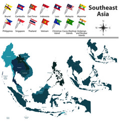 political map of southeast asia vector image vector image