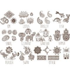 set of sketches mehndi vector image