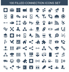 100 connection icons vector image
