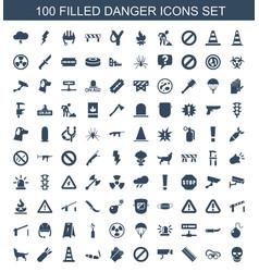 100 danger icons vector