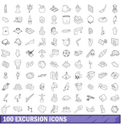 100 excursion icons set outline style vector image