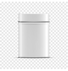 3d white glossy tin can on a transparent vector