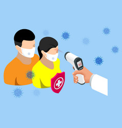 a doctor measures temperature woman vector image