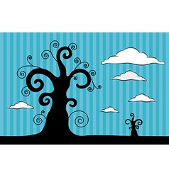 Abstract Black Trees with Clouds on Blue Car vector image