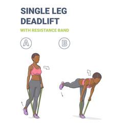 African american girl doing single leg deadlift vector