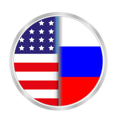 American and russian flag sign symbol icon vector