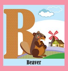 Animal alphabet b vector