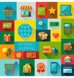 Background with internet shopping icons in flat vector image vector image