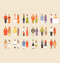big set of national costumes part 1 vector image