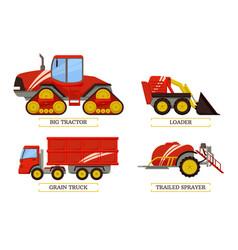 Big tractor and loader set vector