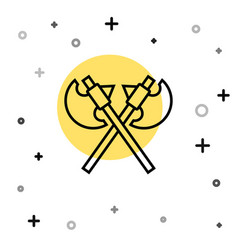 black line crossed medieval axes icon isolated on vector image