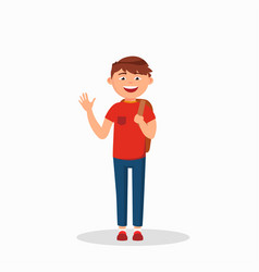 Boy is waving his hand and laughing cartoon vector