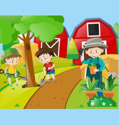 Boys and gardener planting trees vector