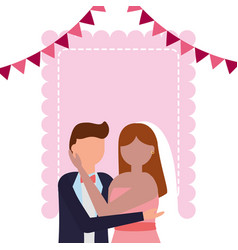 bride and groom wedding greeting card vector image