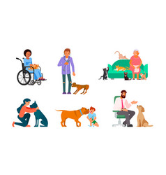 bundle people with their best friends vector image