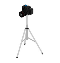 camera on a tripod isolated on white background vector image