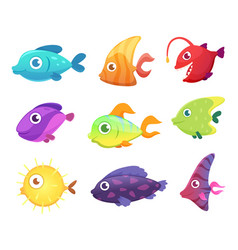 cartoon fish underwater ocean sea animals for vector image