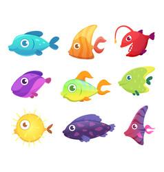 cartoon fish underwater ocean sea animals vector image