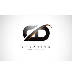 Cd c d swoosh letter logo design with modern vector