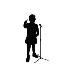 Child silhouettein various pose with microphone vector