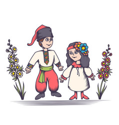 children in ukrainian costumes vector image