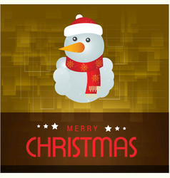 christmas card with snow man yellow background vector image