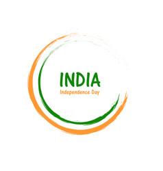 circular outline brush stroke green white orange vector image