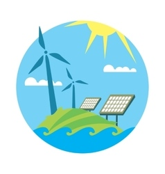 Clean resources Sun and wind energy generation vector